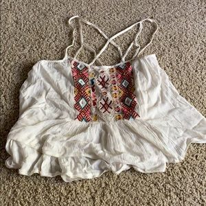 Size medium embroidered white strappy ecote top